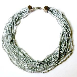 Light Blue Seed Bead Necklace Vintage